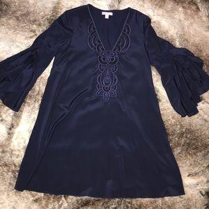 Lilly Pulitzer navy silk dress